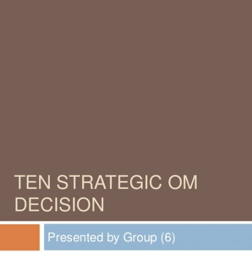 Ten strategic Operation