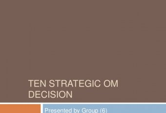 10 decision areas of Operations management